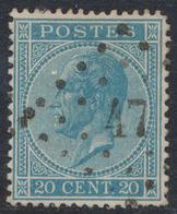 """émission 1865 - N°18 Obl Pt 47 """"Boortmeerbeek"""" / COBA : 60 - 1865-1866 Linksprofil"""
