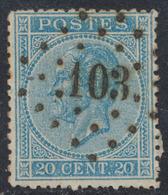 """émission 1865 - N°18 Obl Pt 103 """"Doel"""". Superbe / COBA : 40 - 1865-1866 Linksprofil"""