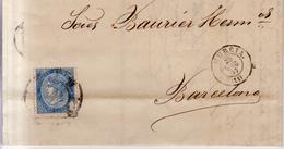 Año 1867 Edifil 88 4 C.  Isabel II Carta Con Matasellos Rueda De Carreta 11 Murcia Membrete Teresa Seiquer - Briefe U. Dokumente
