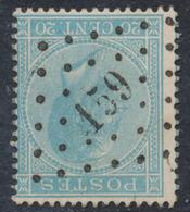 """émission 1865 - N°18 Obl Pt 159 """"Gingelom"""". Superbe  / COBA : 15 - 1865-1866 Profile Left"""