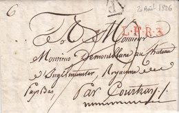 LAC De Paris Pour Les Pays Bas Passage Courtrai Marque LFR3 20 Aout 1826 - Postmark Collection (Covers)