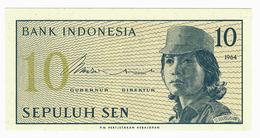 LOT033 - Banknote Indonesia 10 Sepuluh Sen Bank 1964 UNC - Indonesia