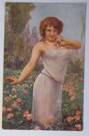 Künstlerkarte, Frauen, Mode, Wenn Die Rosen Blühen,  1924. Fr. Klimes ♥  (23309) - Künstlerkarten