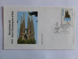 JEUX OLYMPIQUES BARCELONE 1992 - OLYMPHILEX / JO - Cathédrale Sagrada Familia - Enveloppe Commémorative Timbre - Verano 1992: Barcelona