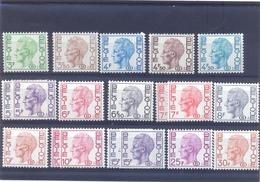 Nrs. S47/S56  ** Postgaaf  Boudewijn Type Velghe  Papiersoorten - Dienstzegels