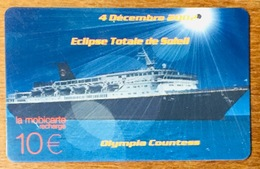 OLYMPIA COUNTESS ÉCLIPSE TOTALE DE SOLEIL 4/12/2002 MOBICARTE ORANGE DE MACARTE.COM  PHONECARD CARD - Mobicartes (recharges)