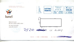 Lettre Flamme Ema Mauguio Pescalune Entete Mairie Lunel - Postmark Collection (Covers)