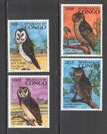 H348 CONGO FAUNA BIRDS OWLS RAPACES NOCTURNES 1SET MNH - Hiboux & Chouettes