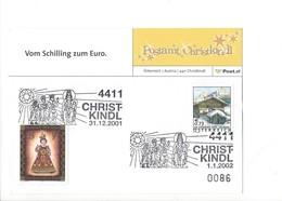 24846  - Christkindl 2001 PostKarte 31.12.2001 + Cachet 01.01.2002 N°0086 - Natale