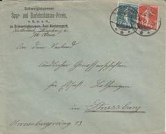 Env Affr Y&T 137 + 138  Obl LUTTERBACH Du 5.3.19 Adressée à Strasbourg - Postmark Collection (Covers)