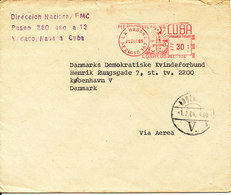 Cuba Cover With Meter Cancel Habana 21-12-1983 Sent To Denmark - Cartas
