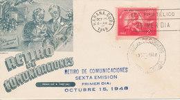 Cuba FDC Habana 15-10-1948 Retiro De Comunicaciones With Cachet - FDC