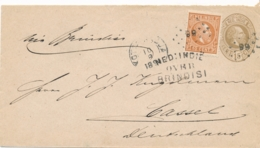 Nederlands Indië - 1891 - 15 Cent Willem III, Envelop G8 + 10c Van KR & Puntstempel KOTTA RADJA Over Brindisi Nr Cassel - Netherlands Indies