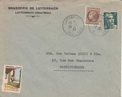 Env Affr Y&t 681 + 713 Obl LUTTERBACH Du 24.1.47 Adressée à Schiltigheim - Marcofilia (sobres)