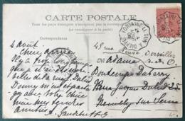 France N°129 Sur CPA 1906 - Convoyeur FONTAINE-LE-DUN à DIEPPE - (B134) - Poststempel (Briefe)