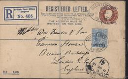 Levant Britannique Entier 1 Penny + LR 2 Pence + YT 36 Surcharge 1 Piastre Registered Letter British Post Office Smyrna - British Levant