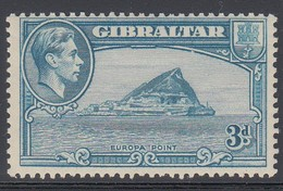 GIBILTERRA 1938-51 GEORGE VI  3D BLUE MINT LH  D.13  SG 125b  COLORE CHIARO - Gibraltar