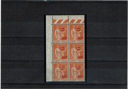 VARIETE - PAIX 80c/1f ORANGE TYPE I SURCHARGE FINE TA SURCHARGE EPAISSE DANS BLOC DE 6 ** Y/T N° 359 - Curiosities: 1931-40 Mint/hinged