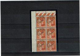 VARIETE - PREO PAIX 80c/1f ORANGE TYPE I SURCHARGE FINE TA SURCHARGE EPAISSE DANS BLOC DE 6 ** Y/T N° 74e - Curiosities: 1931-40 Mint/hinged