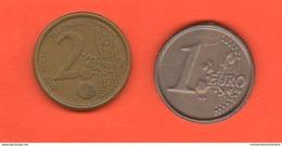 2 Gettoni Tokens Pièce De Monnaie FAKE EURO Coins Tokens Plastic Plastica Plastique - Monétaires/De Nécessité