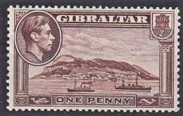GIBILTERRA 1938-51 GEORGE VI  1 1d  DEEP BROWN  MLH  D.13  SG 122c - Gibraltar