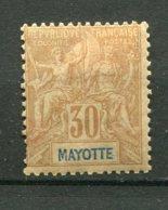 18010 MAYOTTE  N°9 * 30c. Brun Type Groupe Papier Teinté   1892-99  B/TB - Neufs