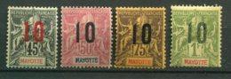 18014 MAYOTTE  N°28/31 *  Type Groupe De 1892-1900 Surchargés   1912  B/TB - Ongebruikt