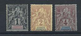 Congo N°12/14 */(*) (MH & MNG) 1892 - Congo Français (1891-1960)
