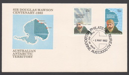 AUSTRALIE AAT 1982 FDC Centenaire Sir Douglas Mawson - FDC