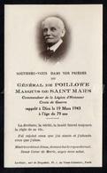Doodsprentje / Avis De Décès / Noblesse / Adel / Général De Poillowe / Marquis De Saint Mars / 1943 / 2 Scans - Décès