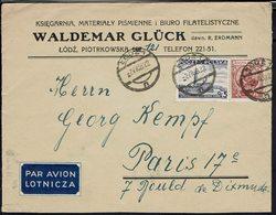 """Pologne """"Waldemar Gluck à Lodz"""" Enveloppe Via Warszawa à Destination De Paris - Cachets Lodz 2-VII-1938 - B/TB - - 1919-1939 République"""