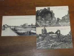 3 Cpa Guerre De 14/18 - CHAUNY - La Retraite Des Allemands  2cpa Aspect De La Ville -les Bors Du Canal - - Chauny