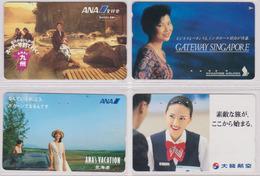 LOT De 4 Télécartes Privées JAPON - AVIATION / FEMME GIRL WOMAN - AIRPLANE JAPAN Private Phonecards / Avion - 2328 - Tarjetas Telefónicas