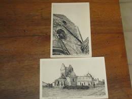 2 CPA -GUERRE 14/15 - SOMMESOUS - Observateur Dans La Tour Et L'église Et Les Tranchées - Francia