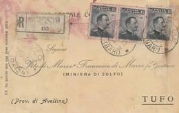 Bisceglie. 1919. Annullo Guller BISCEGLIE (BARI), Su Cartolina Postale  R Affrancata Con 3 Valori Del C.15 - Storia Postale