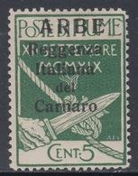 ITALIA - ARBE - Sassone N.1  Soprastampa Larga Cat.  550 Euro - Linguellato - MH*  Certificato  MOLTO RARO - 8. WW I Occupation