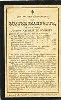 DOODSPRENTje  Non Nonne Zuster JEANNETTE  M DE SCHEPPER  Zevergem 1858   Opbrakel  1895 - Religion & Esotérisme