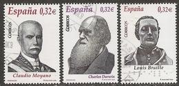 2009-ED. 4498 A 4500-PERSONAJES.CLAUDIO MOYANO.CHARLES DARWIN.LOUIS GRAILLE-USADO - 1931-Hoy: 2ª República - ... Juan Carlos I