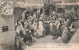 Maroc Oudjda Grand Marché Aux Céréales + Timbre Cachet 1909 - Sonstige