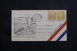 CANADA - Enveloppe 1er Vol Elmonton / Saskatoon En 1930, Affranchissement Plaisant - L 61012 - Briefe U. Dokumente