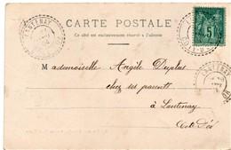 """Cachet Perlé Facteur Boitier """"Lantenay Cote D'Or 1904"""" Sur Sage Cp Dijon  2 Scans - Postmark Collection (Covers)"""