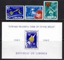 Liberia 1963 Mi# 602-604, Block 27 A ** MNH - Achievements In Space Exploration For Peaceful Purposes - Africa