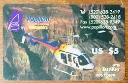 HELICOPTERE TELEKEY GRAND KANYON CARTE 5$ TELEKEY PAS TÉLÉCARTE PHONECARD - Airplanes