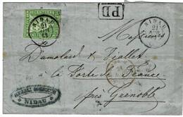 """1863, 40 Rp. , Brief """" NIDAU """" Nach Frankreich (Fr. 220.-) , A3828 - Lettres & Documents"""