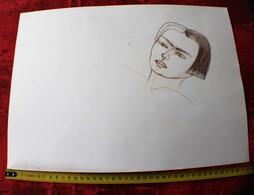 SURRÉALISME PORTRAIT -DESSIN ORIGINAL CRAYON FUSAIN COULEUR SUR PAPIER DESSIN - ÉLÈVE TERMINALE ECOLE BOZARTS MARSEILLE - Dessins