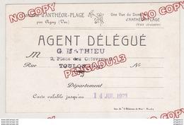 Au Plus Rapide Très Rare Carte D'agent Délégué Pour Commercialisation Du Domaine D'Anthéor Valable Jusqu'au 14 Juil 1923 - Antheor