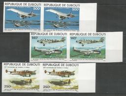2x DJIBOUTI - MNH - Transport - Airplanes - Imperf. - Avions