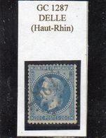 Haut-Rhin - N° 29B Obl GC 1287 Delle - 1863-1870 Napoléon III Lauré