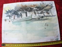 BATEAU PÉNICHE A QUAI   PEINTURE ORIGINALE-AQUARELLE SUR  CARTON RIGIDE -ÉLÈVE TERMINALE  ECOLE DES BOZARTS  MARSEILLE - Watercolours