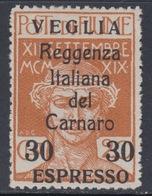 ITALIA - VEGLIA - Espresso N. 1 - Cat. 550 Euro - Linguellato - MH* - 8. WW I Occupation